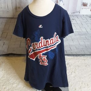 3/$15 Majestic Cardinals blue red tee shirt size M